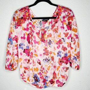 Express Floral Sheer Peasant Top Oversized